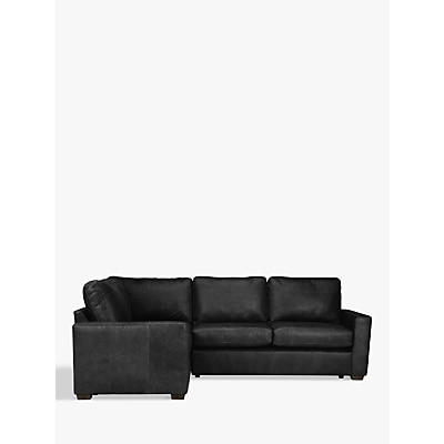 House by John Lewis Oliver Leather Corner Pack Unit, Dark Leg Contempo Black £2599.00 @ John Lewis & Partners