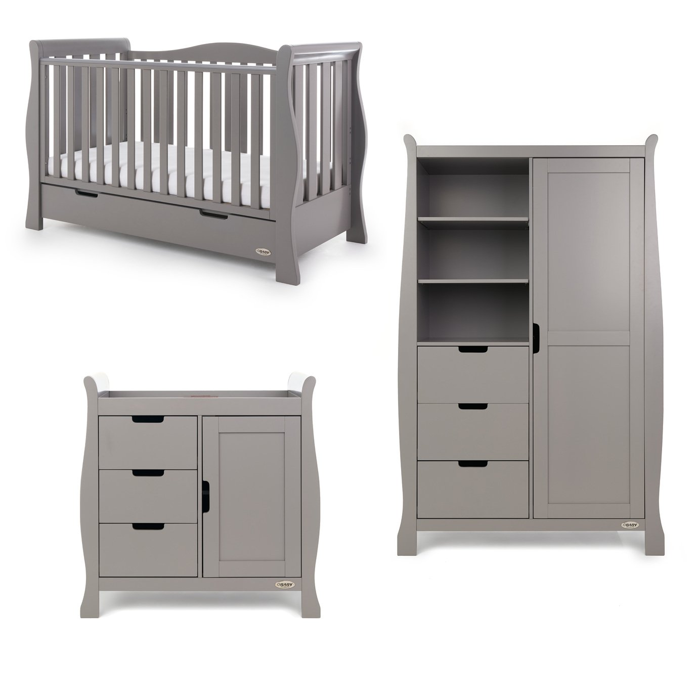 GREAT PRICE on Obaby Stamford Luxe Sleigh 3 Piece Room Set – Taupe Grey £1099.99 @ Argos