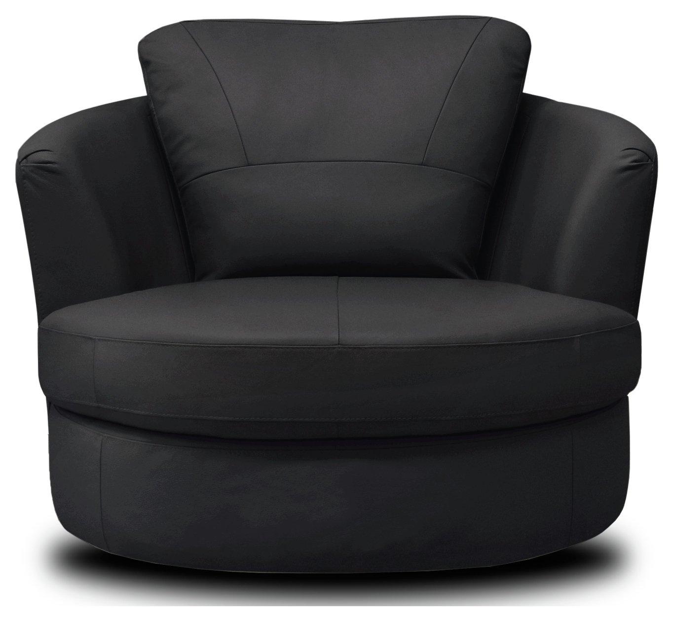 Argos Home Milano Leather Swivel Chair – Black £450.00 @ Argos