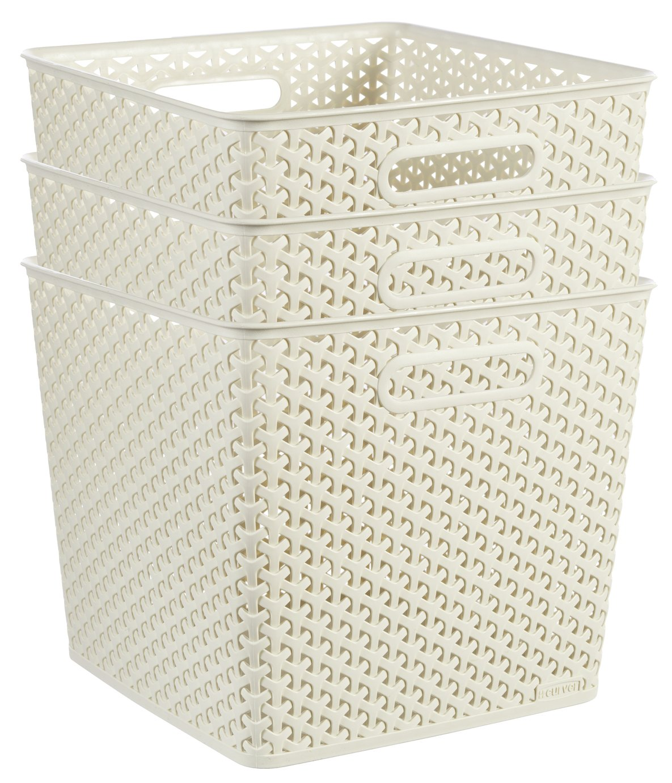 Curver Set of 3 Square Rattan My Style Storage Boxes – White £22.00 @ Argos